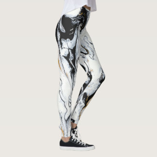 "Black, White & Gold Leggings - ""Nouveau"""