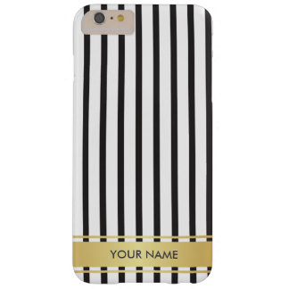 Black White Gold Lines Stripes Glam Minimimalism Barely There iPhone 6 Plus Case