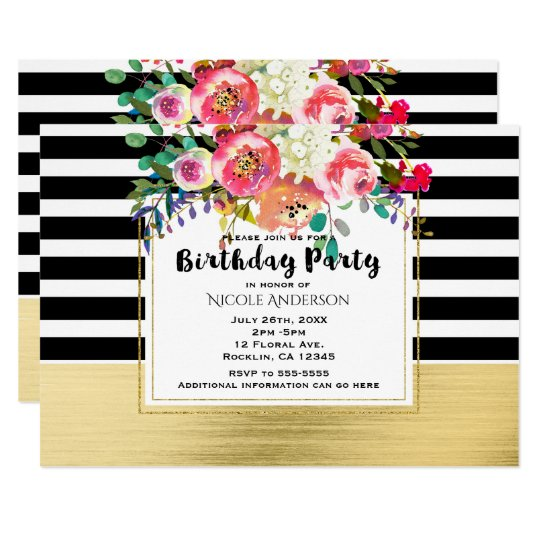 Black White Gold Modern Floral Glam Birthday Party Card
