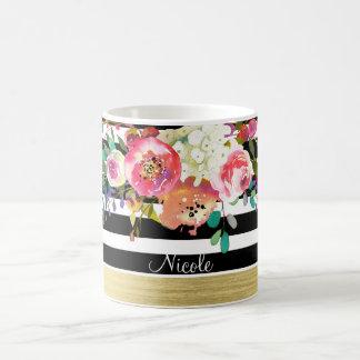 Black White Gold Modern Floral Glam Chic Custom Coffee Mug