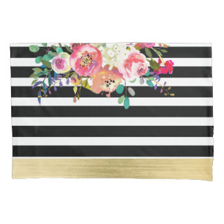 Black White Gold Modern Floral Glam Chic Glamour Pillowcase