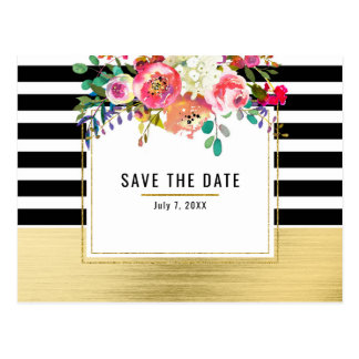 Black White Gold Modern Floral Glam Save the Date Postcard
