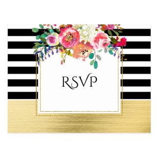 Black White Gold Modern Floral Glam Wedding RSVP Postcard