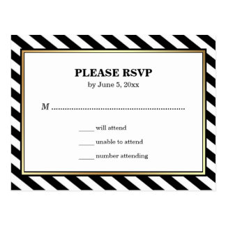 Black White Gold Modern Glam Stripes RSVP Postcard