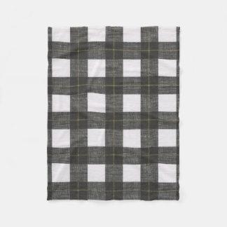 Black White Gold Plaid Fleece Blanket