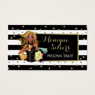 Black & White/Gold Savvy Shopper Business Card