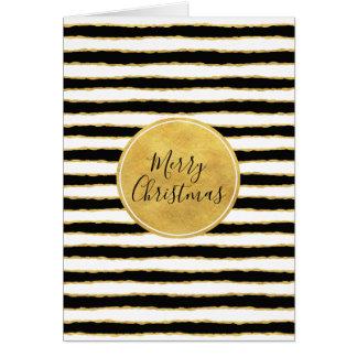 Black White Gold Stripes Christmas Card