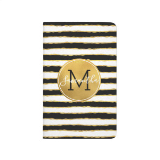Black White Gold Stripes Monogram Journal