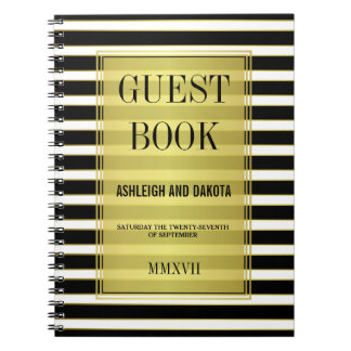 Black White & Gold Stripes Wedding Guestbook Spiral Notebook