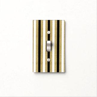 Black White Gold Vertical Stripes Glam Chic Light Switch Cover