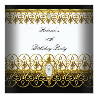 "Black White Gold Womens Elegant Birthday Party 5.25"" Square Invitation Card"