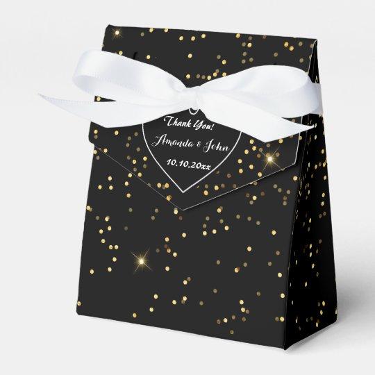 Black White Golden Sparkly Wedding Favour Thank Favor Box