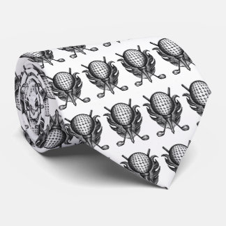Black White Golf Ball Tee Clubs Golfer Gift Tie
