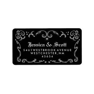 Black White Gothic Scroll Wedding Address
