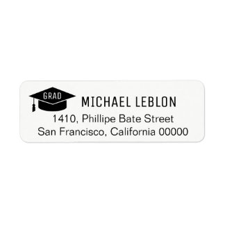 black/white graduation address label with name