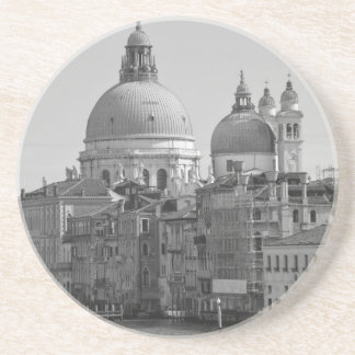 Black White Grand Canal Venice Italy Travel Drink Coasters
