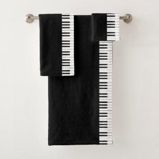 Black & White Grand Piano Keys Bathroom Towel Set