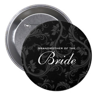 Black white gray bride bridal 3 inch round button
