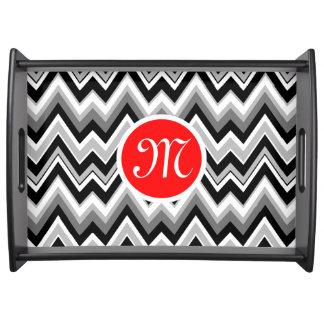 Black, White & Gray Chevron Zigzag Pattern 2 Serving Tray