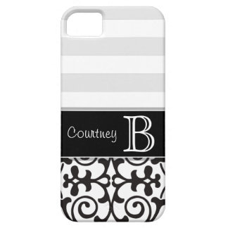 Black White Gray Damask Monogram iPhone 5 iPhone 5 Covers