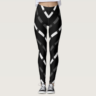 Black white gray dashed lines stripes legging