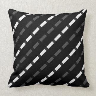Black white gray dashed lines stripes stripe big throw pillow