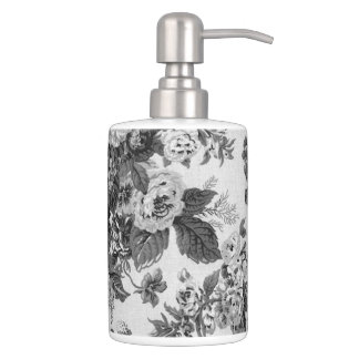 Black & White Gray Floral Toile No.3 Bathroom Set