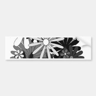 Black White Gray flowers floral gift Mother s Day Bumper Stickers