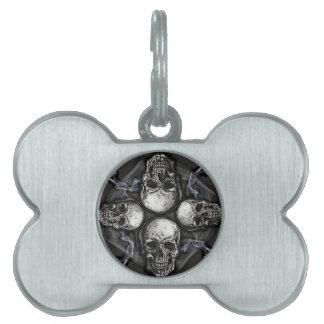 Black white gray gothic skulls pet ID tag