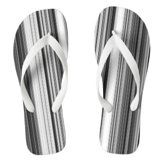 Black White Gray Striped Pattern Flip Flops