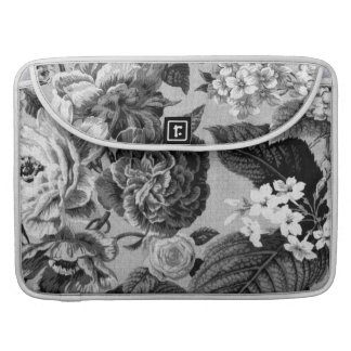 Black & White Gray Tone Vintage Floral Toile No.1 Sleeve For MacBooks