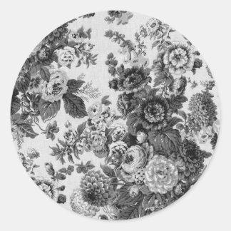 Black & White Gray Tone Vintage Floral Toile No.3 Round Sticker