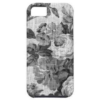 Black & White Gray Tone Vintage Floral Toile No.4 iPhone 5 Cover