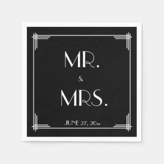 Black White Great Gatsby Art Deco Wedding Napkins Paper Napkin