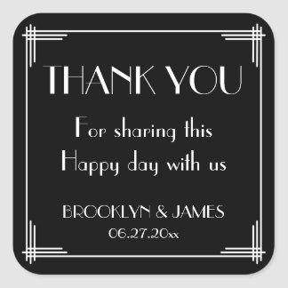 Black White Great Gatsby Art Deco Wedding Stickers