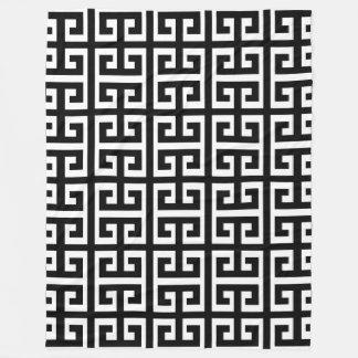 black white greek key blanket