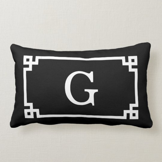 Black White Greek Key Frame #2 Initial Monogram Lumbar Pillow
