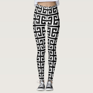 black white greek key leggings