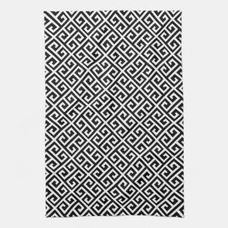 Black & White Greek Key Pattern Kitchen Towel