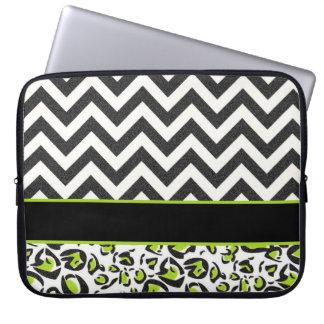 Black, White, Green, Chevron, Animal Pattern Computer Sleeve