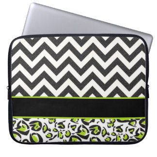 Black, White, Green, Chevron, Animal Pattern Laptop Sleeve