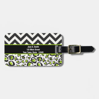 Black, White, Green, Chevron, Animal Pattern Luggage Tag