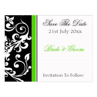 Black White Green Floral Invitation, 21st July ... Postcard