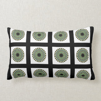 Black White Green Geometric Tile Pillow