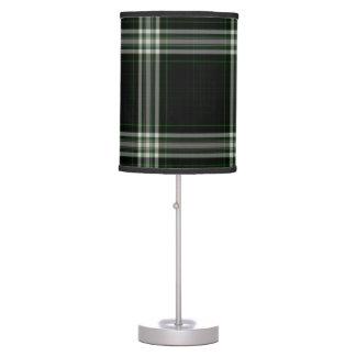 Black White Green Giant Tartan Plaid Table Lamp