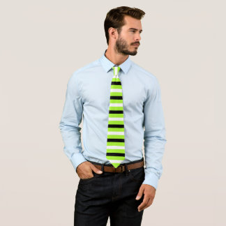 Black, White, Green Lizard Stripes Pattern Tie