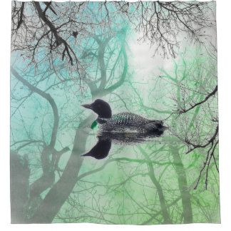 Black  white green loon on a lake Shower Curtain