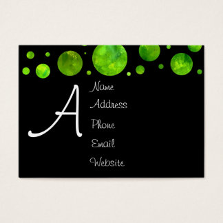 Black & White Green Polka Dot Business Card