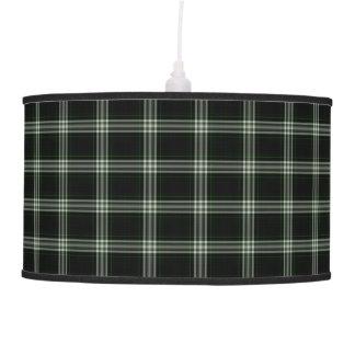 Black White Green Tartan Plaid Pendant Lamp