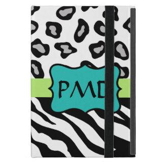 Black White Green & Turquoise Zebra & Cheetah Skin iPad Mini Covers